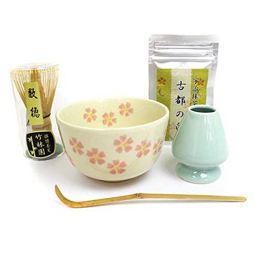 T White flower pattern Matcha tea bowl Number Hotachi Tea Lotion Straight Tea Manual / H / Tea can easily be drank tea ceremony beginner easy practicing(Tea ...
